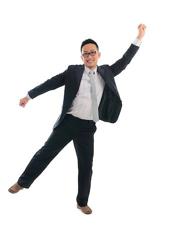 chinese business male jumping success with isolated white background Stock Photo - Budget Royalty-Free & Subscription, Code: 400-06743814
