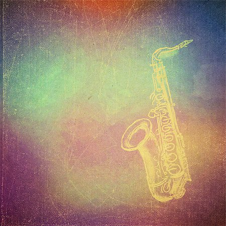 sheet music background - vintage paper texture, art music background, saxophone Stock Photo - Budget Royalty-Free & Subscription, Code: 400-06750733