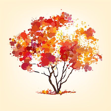 autumn vector tree of blots background Stock Photo - Budget Royalty-Free & Subscription, Code: 400-06750766