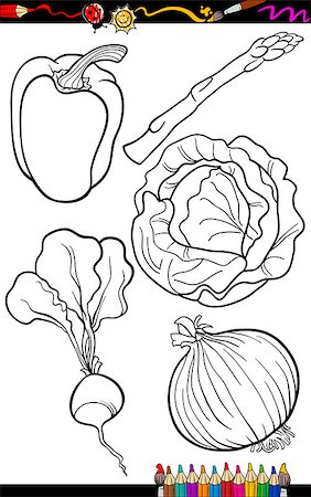 Coloring Book or Page Cartoon Illustration of Black and White Vegetables Food Objects Set Stock Photo - Budget Royalty-Free & Subscription, Code: 400-06764426