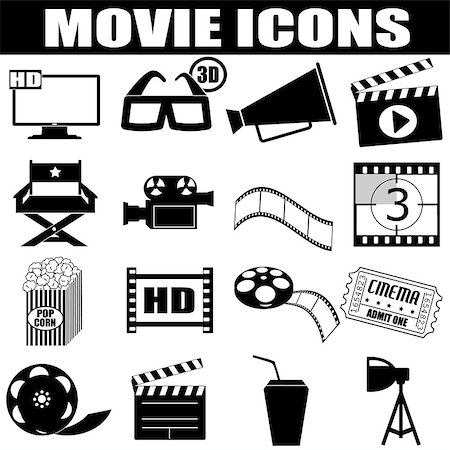 film strip - Movie icons set on white background, vector illustration Stock Photo - Budget Royalty-Free & Subscription, Code: 400-06764933