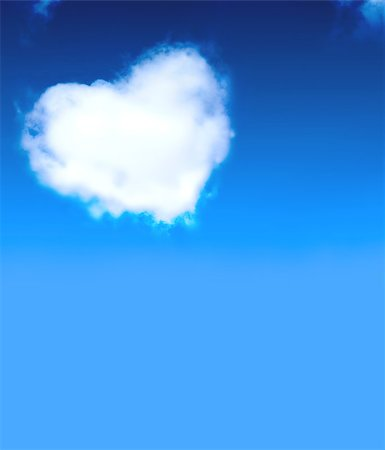 fly heart - Heart from clouds in blue sky Stock Photo - Budget Royalty-Free & Subscription, Code: 400-06765133