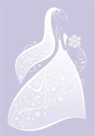 bride in bridal gown, wedding dress, bridal shower, vector illustration Stock Photo - Budget Royalty-Free & Subscription, Code: 400-06765279
