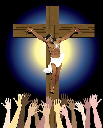 Vector Illustration showing the power of the holy spirit, Jesus Christ on cross. Easter Resurrection Stock Photo - Budget Royalty-Free & Subscription, Code: 400-06766872
