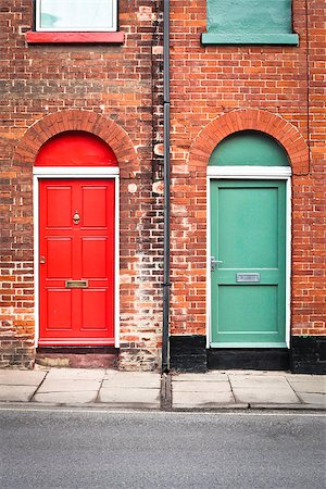 Colorful front doors of two adjoining town houses in England Stock Photo - Budget Royalty-Free & Subscription, Code: 400-06767558