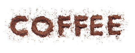 Word Coffee written with real ground coffee. Stock Photo - Budget Royalty-Free & Subscription, Code: 400-06768458
