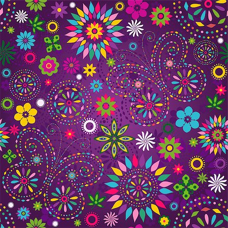 Seamless motley vivid violet floral pattern with colorful flowers, butterflies and decorative circles (vector) Stock Photo - Budget Royalty-Free & Subscription, Code: 400-06769145