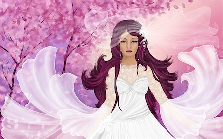Painted illustration. A bride in a white dress on a background of pink flowering trees. Stock Photo - Budget Royalty-Free & Subscription, Code: 400-06769200