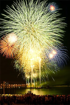 Brightly colorful fireworks and salute of various colors in the night sky Stock Photo - Budget Royalty-Free & Subscription, Code: 400-06760500