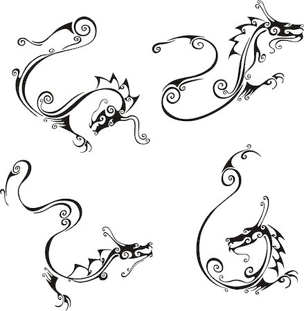 swirly - Stylistic exquisite dragon tattoos. Set of black and white vector illustrations. Stock Photo - Budget Royalty-Free & Subscription, Code: 400-06762272