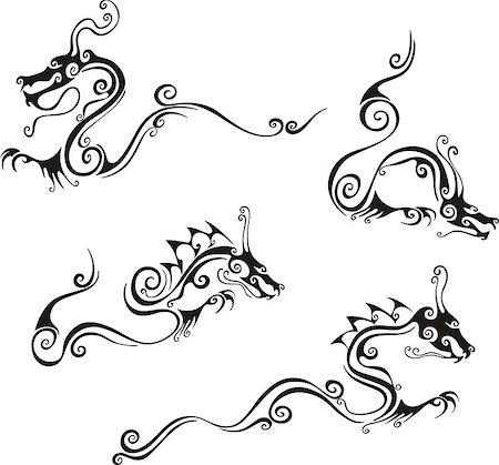 swirly - Stylistic dragon tattoos. Set of black and white vector illustrations. Stock Photo - Budget Royalty-Free & Subscription, Code: 400-06762294