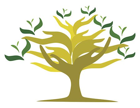 Image of tree created from shape of human hands Stock Photo - Budget Royalty-Free & Subscription, Code: 400-06762629