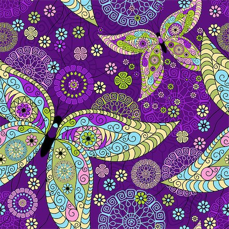 Seamless spring violet floral pattern with colorful vintage butterflies and decorative circles (vector) Stock Photo - Budget Royalty-Free & Subscription, Code: 400-06763699
