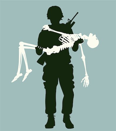 Editable vector illustration of a soldier carrying a skeleton in his arms Stock Photo - Budget Royalty-Free & Subscription, Code: 400-06763852
