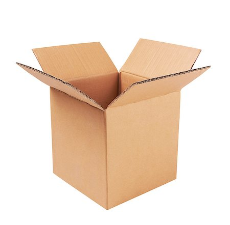 open cardboard box isolated on white Stock Photo - Budget Royalty-Free & Subscription, Code: 400-06770570