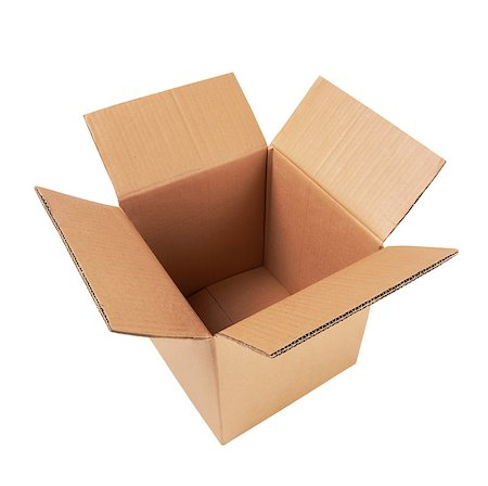 open cardboard box isolated on white Stock Photo - Budget Royalty-Free & Subscription, Code: 400-06770571