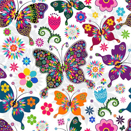 Seamless spring white floral pattern with colorful butterflies and flowers (vector) Stock Photo - Budget Royalty-Free & Subscription, Code: 400-06770886