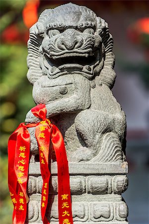 chinese imperial lion statue in the The Jade Buddha Temple shanghai china Stock Photo - Budget Royalty-Free & Subscription, Code: 400-06770998