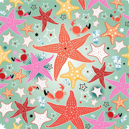 simsearch:400-04638538,k - seamless bright pattern of sea stars on a light green background Stock Photo - Budget Royalty-Free & Subscription, Code: 400-06771101
