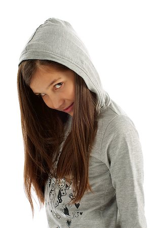 Girl Teen with Long Brown Hair in Casual Gray Hooded Sweatshirt on white background Stock Photo - Budget Royalty-Free & Subscription, Code: 400-06771992