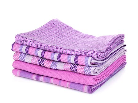 Kitchen towels. Isolated on white background Stock Photo - Budget Royalty-Free & Subscription, Code: 400-06772217