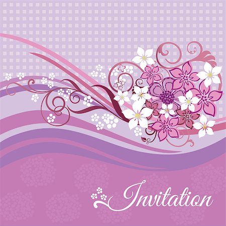 Invitation card with pink and white flowers on pink background. This image is a vector illustration. Stock Photo - Budget Royalty-Free & Subscription, Code: 400-06787576