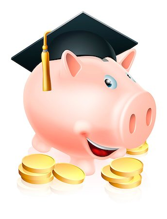 education loan - Cartoon education piggy bank with mortar board graduation hat on and gold coins. Concept for saving money for an education or schooling or college finances etc. Stock Photo - Budget Royalty-Free & Subscription, Code: 400-06787758