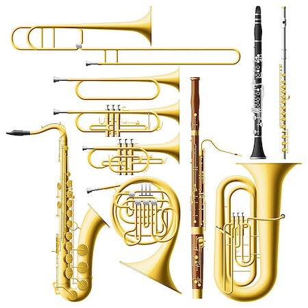 Layered vector illustration of collected Wind Instruments. Stock Photo - Budget Royalty-Free & Subscription, Code: 400-06787764