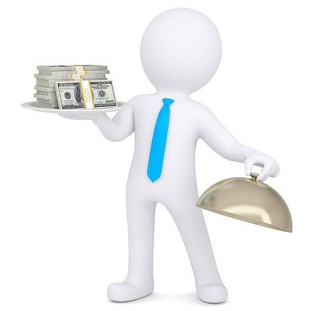 3d man holding a pile of money on a platter. Isolated render on a white background Stock Photo - Budget Royalty-Free & Subscription, Code: 400-06789467