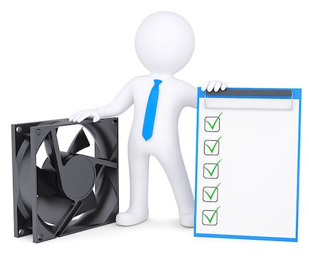paper blower - 3d man next to a computer fan. Isolated render on a white background Stock Photo - Budget Royalty-Free & Subscription, Code: 400-06789470