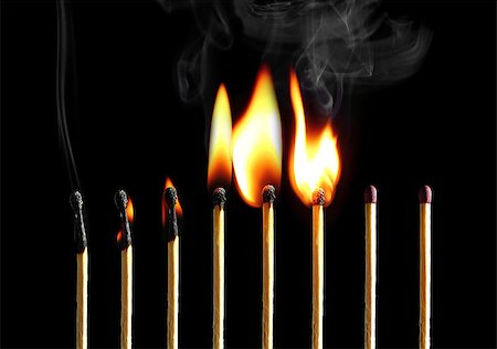 Set of eight matches burning in a chain reaction Stock Photo - Budget Royalty-Free & Subscription, Code: 400-06794265