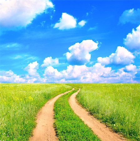 road landscape - Rural summer landscape with old road Stock Photo - Budget Royalty-Free & Subscription, Code: 400-06798729