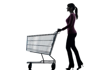 empty shopping cart - one caucasian woman with empty shopping cart in silhouette studio isolated on white background Stock Photo - Budget Royalty-Free & Subscription, Code: 400-06790390