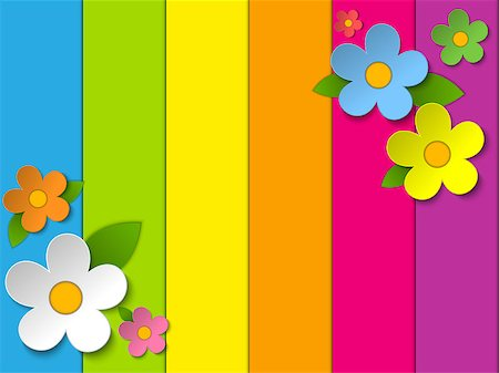 Vector - Beautiful Spring Flowers Rainbow Background Stock Photo - Budget Royalty-Free & Subscription, Code: 400-06848069
