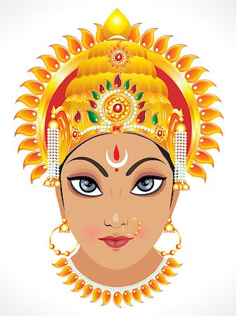 drawn curved - abstract goddess durga face vector illustration Stock Photo - Budget Royalty-Free & Subscription, Code: 400-06849015