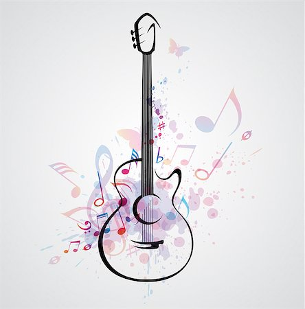 Vector stylized guitar on abstract background with notes Stock Photo - Budget Royalty-Free & Subscription, Code: 400-06849750