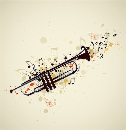 Music abstract background with trumpet and notes Stock Photo - Budget Royalty-Free & Subscription, Code: 400-06849753