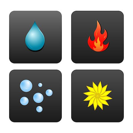 Drop of water, fire, air bubbles, and the flower, which symbolizes the earth. Icons in dark gray squares isolated on white background. Stock Photo - Budget Royalty-Free & Subscription, Code: 400-06849865