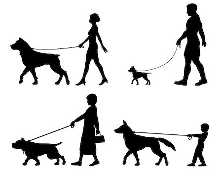 Editable vector silhouettes of contrasting dogs and owners Stock Photo - Budget Royalty-Free & Subscription, Code: 400-06854287
