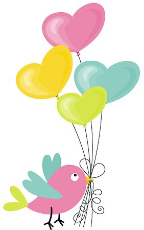 flying hearts clip art - Scalable vectorial image representing a birdie holding a heart-shaped balloons, isolated on white. Stock Photo - Budget Royalty-Free & Subscription, Code: 400-06854471