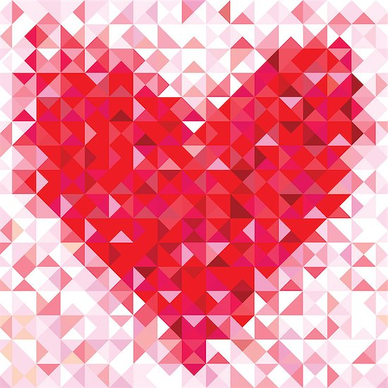 Seamless love pattern of geometric heart. Colorful diamond mosaic banner triangle vector hipster background. Stock Photo - Royalty-Free, Artist: svetap, Image code: 400-06854512
