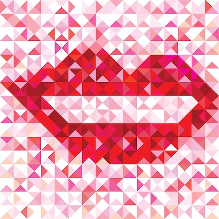 svetap (artist) - Seamless lip love pattern of geometric kiss. Colorful banner triangle vector hipster background. Stock Photo - Budget Royalty-Free & Subscription, Code: 400-06854513