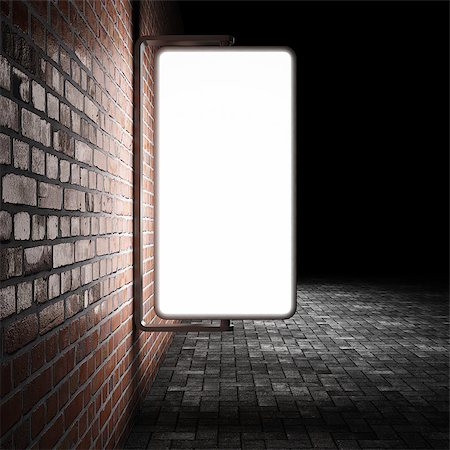 enki (artist) - Blank street advertising billboard on brick wall at night Stock Photo - Budget Royalty-Free & Subscription, Code: 400-06854645