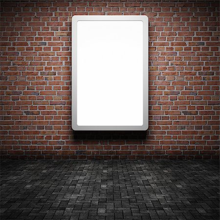 enki (artist) - Blank street advertising billboard on brick wall at night Stock Photo - Budget Royalty-Free & Subscription, Code: 400-06854646