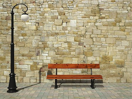 enki (artist) - Brick wall with old fashioned street light and bench Stock Photo - Budget Royalty-Free & Subscription, Code: 400-06854641