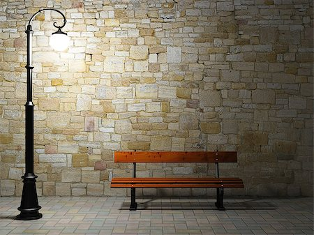 enki (artist) - Night view of the illuminated brick wall with old fashioned street light and bench Stock Photo - Budget Royalty-Free & Subscription, Code: 400-06854642