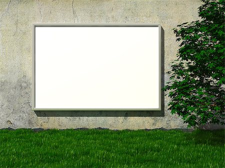 enki (artist) - Blank advertising billboard on concrete wall with tree on lawn Stock Photo - Budget Royalty-Free & Subscription, Code: 400-06854653