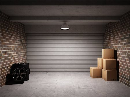 enki (artist) - Empty garage with metal roll up door Stock Photo - Budget Royalty-Free & Subscription, Code: 400-06854703
