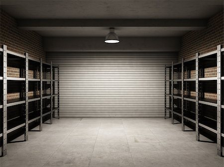 enki (artist) - Empty garage with metallic shelves Stock Photo - Budget Royalty-Free & Subscription, Code: 400-06854718