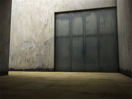 enki (artist) - Empty space of grungy concrete with door Stock Photo - Budget Royalty-Free & Subscription, Code: 400-06854729